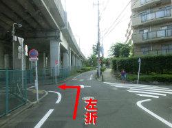 駅から 裏の交差点 左折